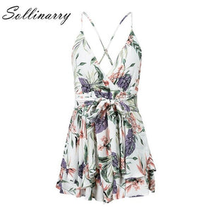 Sollinarry Floral Print Rompers Women 2019 Summer Backless Spaghetti Sexy Short Jumpsuits Casual Holiday Boho Beach Jumpsuit