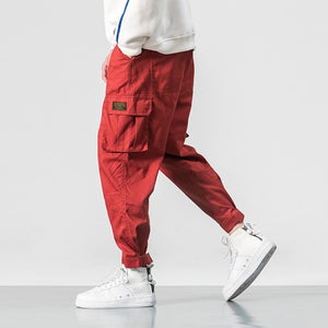 2019 Men Multi-pocket Elastic Waist Design Harem Pant Street Punk Hip Hop Red Casual Trousers Joggers Male Army Cargo Pants 5XL