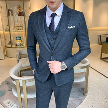 Load image into Gallery viewer, Jacket Pants Vest 3 pieces sets / 2018 fashion new men's casual boutique business grid suit suits Blazers trousers waistcoat