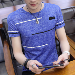 Korean Short Sleeve T Shirt Men O Neck Polyester Mens T Shirt Summer Cool Tee Male Slim Casual Boys Tee Shirt Homme 4XL