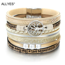 Load image into Gallery viewer, ALLYES Leather Bracelets for Women 2019 Fashion Tree of Life Ladies Bohemian Multilayer Wide Wrap Bracelet Female Jewelry