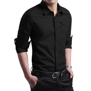 M-5XL plus Size New Thin Breathable Military Men Shirts Long Sleeve Slim Men's Shirts Summer 2019 Business Men Brand Clothing