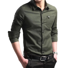 Load image into Gallery viewer, M-5XL plus Size New Thin Breathable Military Men Shirts Long Sleeve Slim Men's Shirts Summer 2019 Business Men Brand Clothing