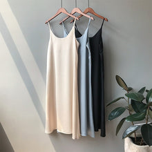 Load image into Gallery viewer, Mooirue Spring 2019 Woman Tank Dress Casual Satin Sexy Camisole Elastic Female Home Beach Dresses