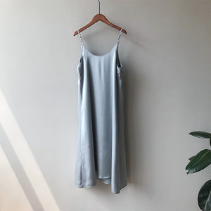 Mooirue Spring 2019 Woman Tank Dress Casual Satin Sexy Camisole Elastic Female Home Beach Dresses
