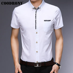 COODRONY Short Sleeve Men Shirt With Pocket 2019 Summer Cool Shirt Men Brand Clothes Business Casual Shirts Chemise Homme S96035