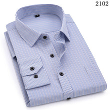 Load image into Gallery viewer, Plus Large Size 8XL 7XL 6XL 5XL 4XL Mens Business Casual Long Sleeved Shirt Classic Striped Male Social Dress Shirts Purple Blue