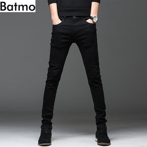 Batmo 2019 new arrival high quality casual slim elastic black jeans men ,men's pencil pants ,skinny jeans men 2108
