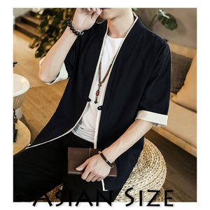Sinicism Store Men Patchwork Shirt Streetwear Short Sleeve 2019 Summer Harajuku Vintage Kimono Shirts Black Fashion Open Stitch