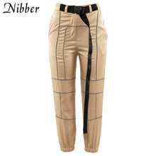 Load image into Gallery viewer, Nibber spring Reflective cargo pants women Casual harem pants 2019 hot black Sweatpants ladies wild Belt decoration Active Wear