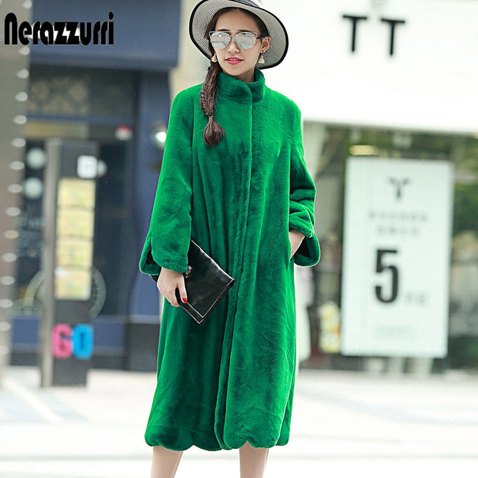 Nerazzurri Long faux fur coat women 2019 winter solid Stand Collar loose green black pink plush outerwear plus size 5XL 6XL 7XL