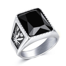 Load image into Gallery viewer, Jiayiqi Men Hiphop Ring 316L Stainless Steel Black/Red Stone Ring Rock Fashion Male Jewelry