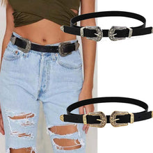 Load image into Gallery viewer, 2019 Women Black Leather Western Cowgirl Waist Belt Metal Buckle Waistband New Hot