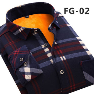 Aoliwen 2019 Fashion Men's Slim Shirts Autumn And Winter Thickening Warm Plaid 24 Colors Male Social Shirt Clothing Size M-5Xl