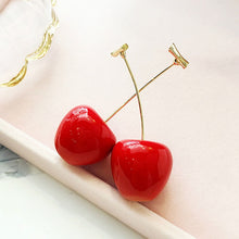 Load image into Gallery viewer, New acrylic red cherry earrings ladies temperament Korea girl heart cute super fairy earrings long earrings