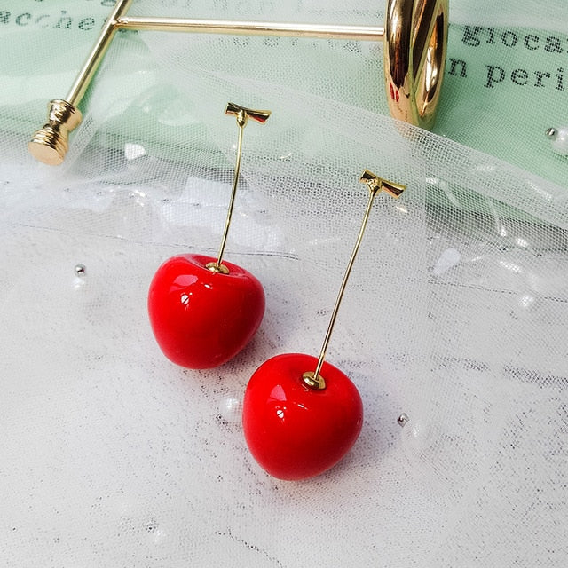 New acrylic red cherry earrings ladies temperament Korea girl heart cute super fairy earrings long earrings