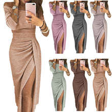 Load image into Gallery viewer, Dress Women Sequin Autumn winter Sexy Club Push Up Slash Neck Black Red beach party Long Dresses Female Vestido Slim Fold robe