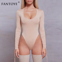 Load image into Gallery viewer, Fantoye Sexy Pleated Long Sleeve Bodysuits Women Tops Spring Deep O-Neck Skinny Bodycon Jumpsuit Rompers Casual Basic Overalls