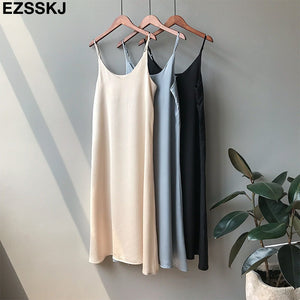 Spring summer 2019 Woman Tank Dress Casual Satin Sexy Camisole Elastic Female Home Beach Dresses v-neck camis sexy dress