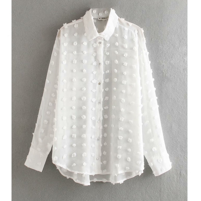 new women fashion dot stitching casual chiffon blouse shirt women long sleeve chic blusas perspective white chemise tops LS3725