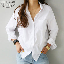 Load image into Gallery viewer, women shirts and blouses 2019 Feminine Blouse Top Long Sleeve Casual White Turn-down Collar OL Style Women Loose Blouses 3496 50