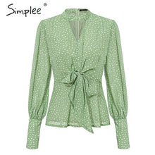 Load image into Gallery viewer, Simplee Vintage dot print v-neck women chiffon blouse shirt Bow tie high waist peplum tops Puff sleeve female tops blouse shirt