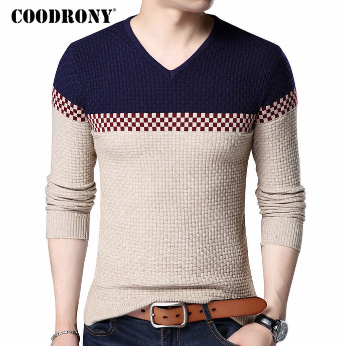 COODRONY 2019 Autumn Winter Warm Wool Sweaters Casual Hit Color  Patchwork V-neck Pullover Men Brand Slim Fit Cotton Sweater 155