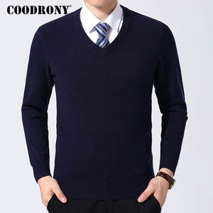 COODRONY Sweater Men Clothes 2019 Autumn Winter Cashmere Wool Pullover Sweaters Plus Size Business Casual V-Neck Pull Homme 8128