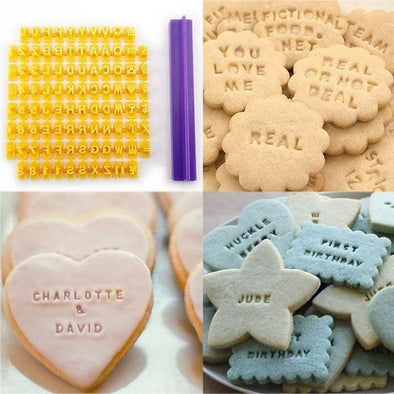 Alphabet Letter Number Cookie Press Stamp Embosser Cutter Fondant Mold Cake Baking Molds Tools | TRB