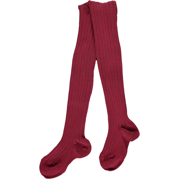 RIBBED TIGHTS - GRANATE RED