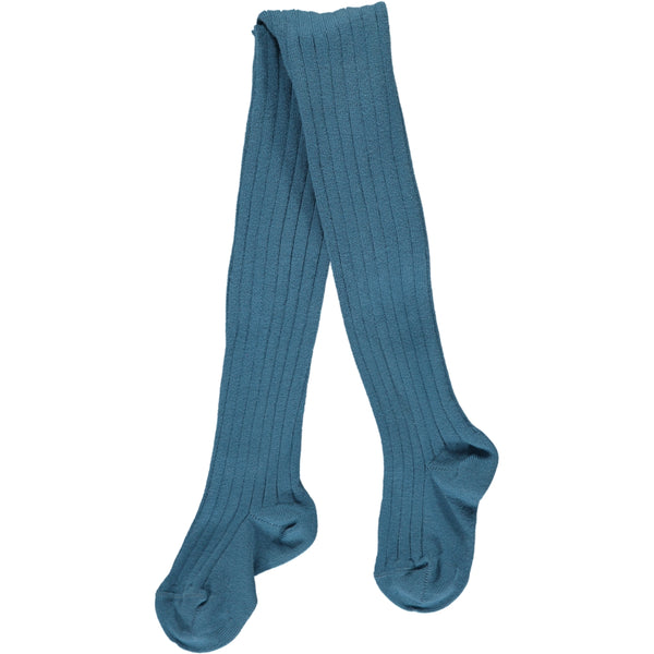 RIBBED TIGHTS - BLUE FRANCE