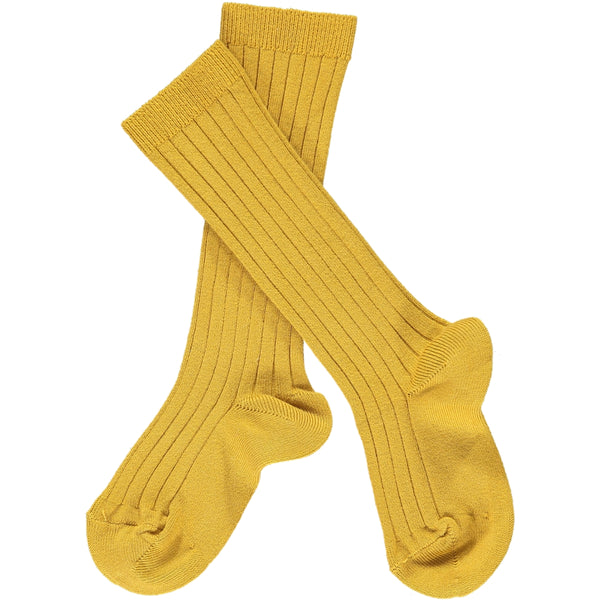 Ribbed Knee-High Socks Mustard