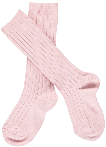 Ribbed Knee-High Socks Dusty Pink