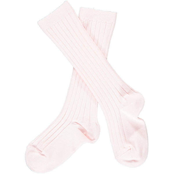 Ribbed Knee-High Socks Baby Pink