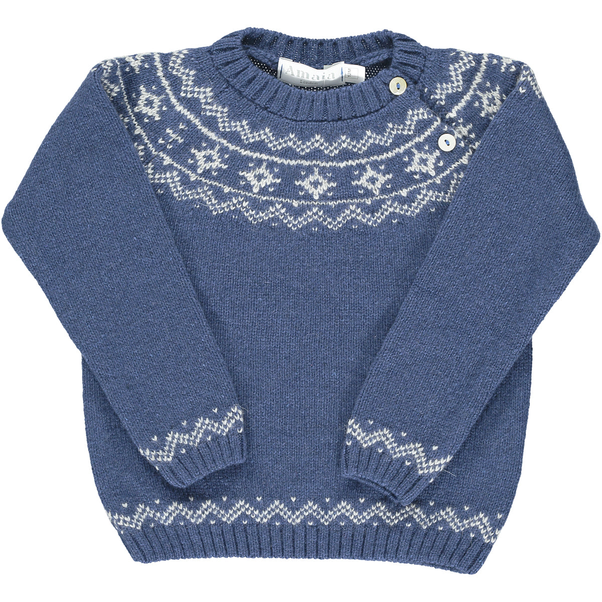 Mario Fairisle Jumper Medium Blue