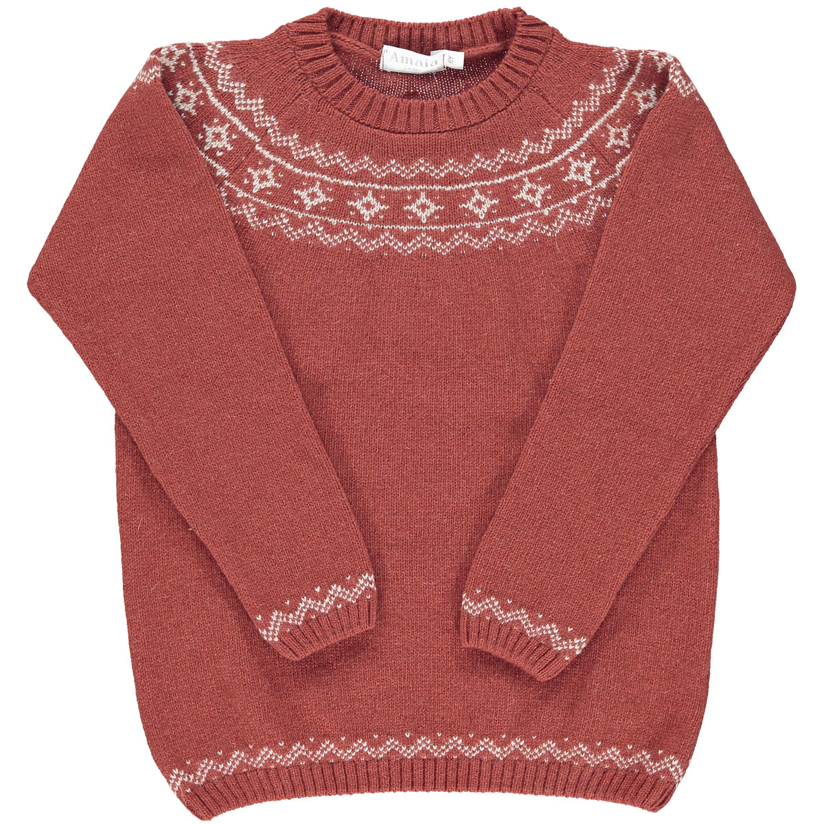 Mario Fairisle Jumper Burnt Orange