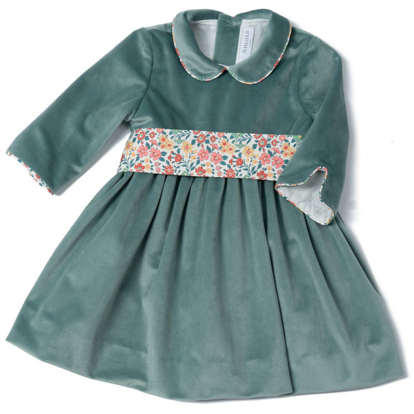 Sevilla Christmas velvet dress Aqua