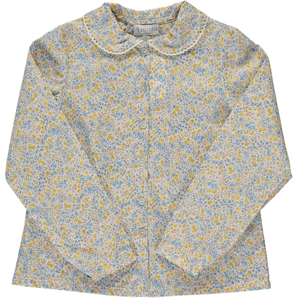 Coline Blouse Blue/Yellow Floral Liberty print
