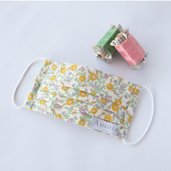 Child Reusable cotton face mask - Yellow floral