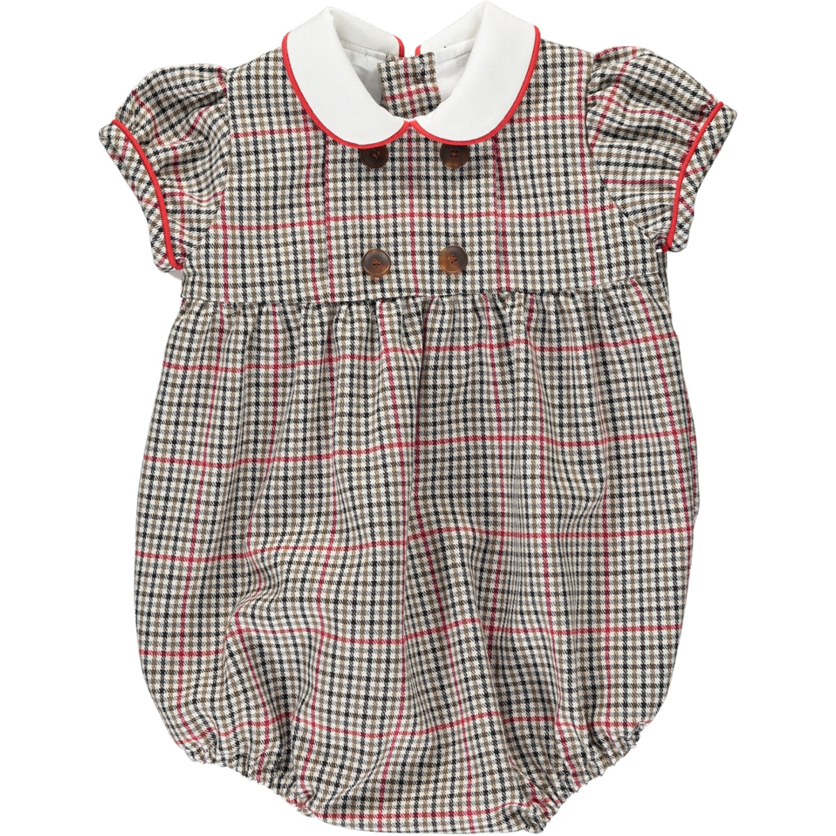 Felicidad Romper Red/Brown Check