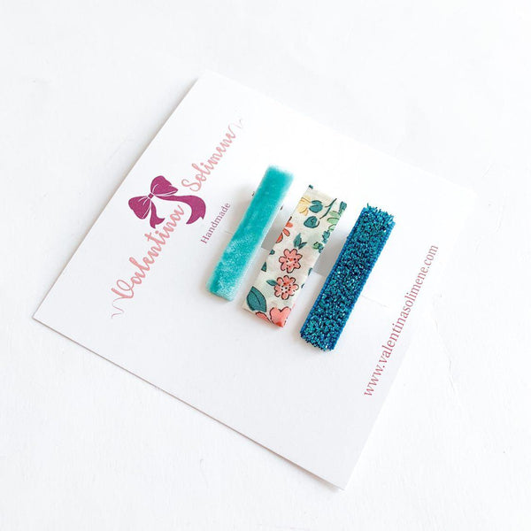 Liberty and matching clips Annabella aqua