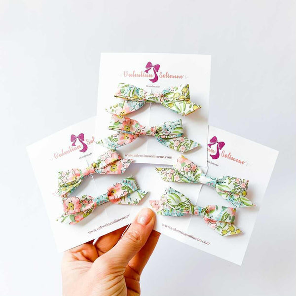 Liberty bow clips Swirling Petals