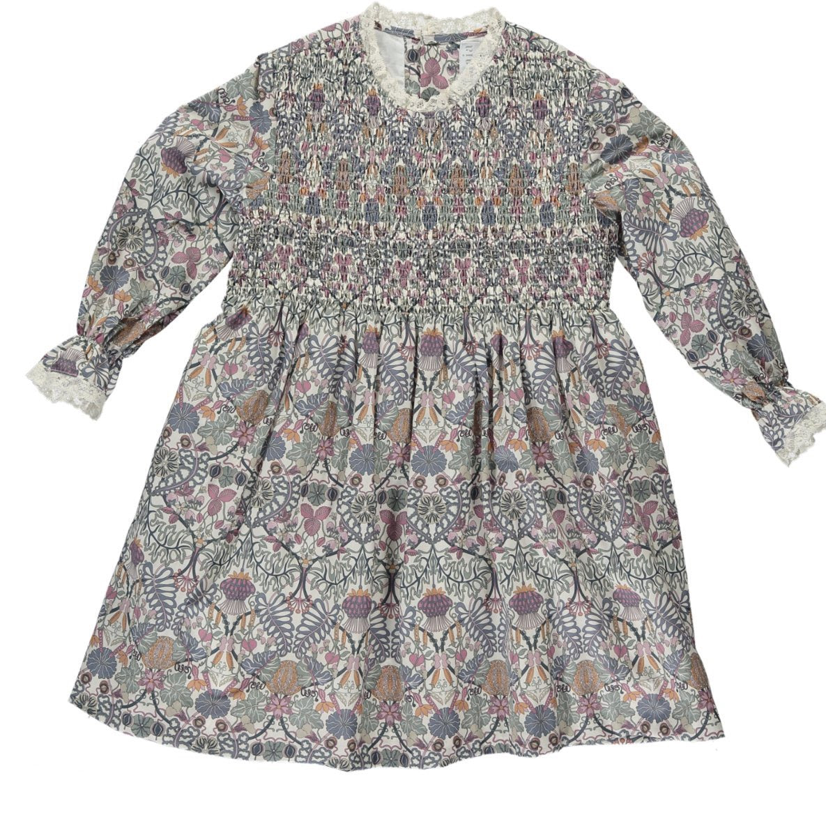 Laeticia Dress Lilac/Khaki Floral Liberty print