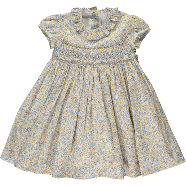 Moohren Dress Blue/Yellow Floral Liberty Print
