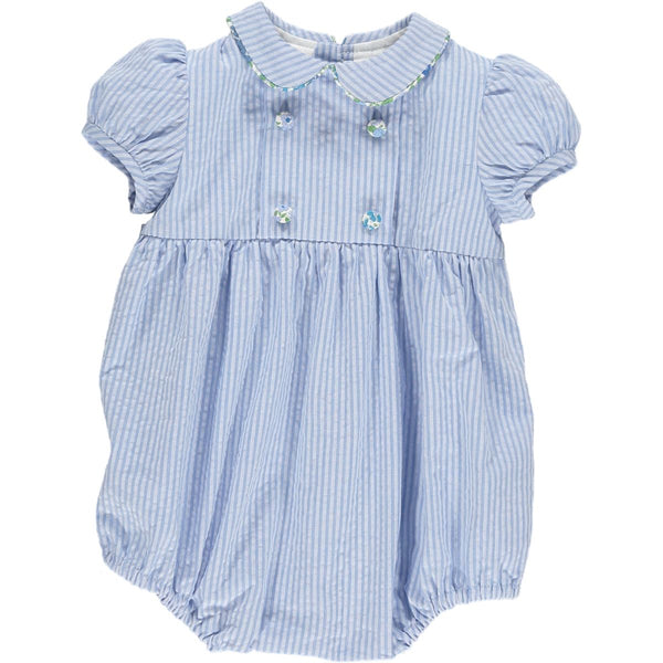 Babydoll Romper Light Blue Seersucker