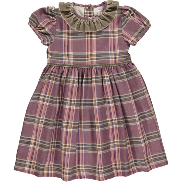 Raisin Dress Plum Tartan