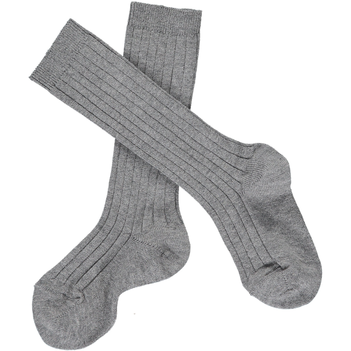 Ribbed Knee-High Socks Light Grey