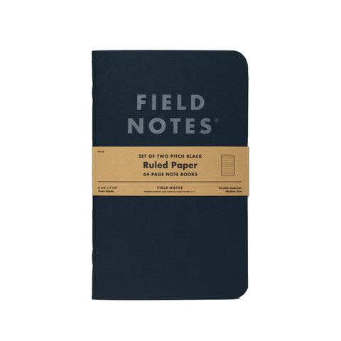 Field Notes Pitch Black Memo - Ruled - Notegeist dot com
