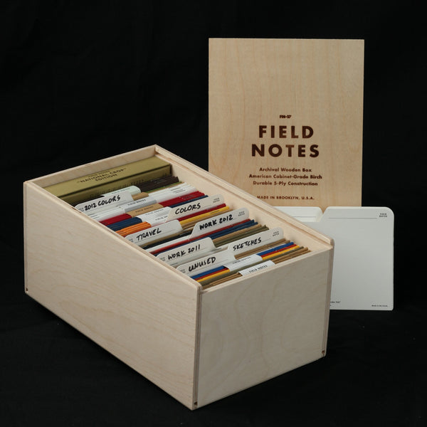 Field Notes Archival Wooden Box - Open - Notegeist dot com
