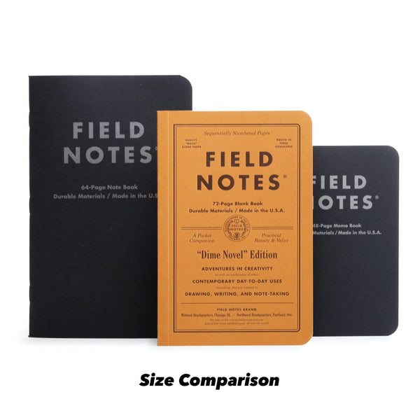 Field Notes Dime Novel Pack - Size Comparison - Notegeist dot com